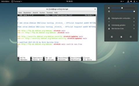 Bild: Der Editor nano mit dem Eintrag für die WLAN-Treiber in die Datei /etc/apt/sources.list.