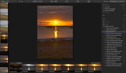 """Bild: Skylum Luminar 4. Der Workflow ist logisch in einen Bereich """"Bibliotheken"""", """"Bearbeiten"""" und """"Info"""" gegliedert. Klicken Sie auf das Bild um es zu vergrößern."""