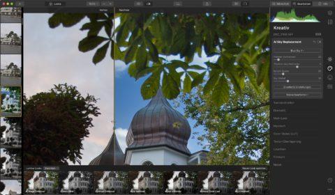 Bild: Skylum Luminar 4. In diesem RAW Konverter lässt sich der komplette Himmel austauschen. Luminar geht damit einen einzigartigen Weg. Kann man mögen oder nicht. Klicken Sie auf das Bild um es zu vergrößern.
