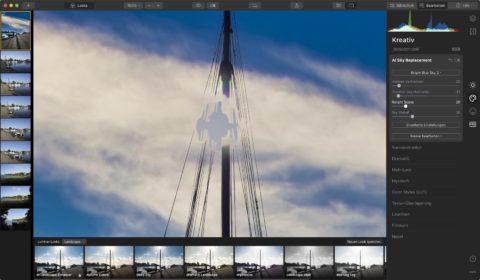 Bild: Skylum Luminar 4. In diesem RAW Konverter lässt sich der komplette Himmel austauschen. Luminar geht damit einen einzigartigen Weg. Kann man mögen oder nicht. Der saubere Austausch des kompletten Himmels funktioniert bei feinen Strukturen in der Szene auch nicht immer wirklich zuverlässig. Klicken Sie auf das Bild um es zu vergrößern.