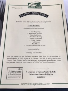 Flying Scotsman Menu