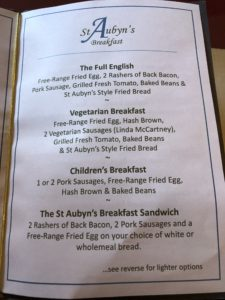 St Aubyns B and B Menu