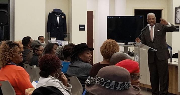 "Birmingham Mayor William Bell delivers his ""State of the City"" address to residents at the Pratt City library. (Ariel Worthy, The Birmingham Times)"
