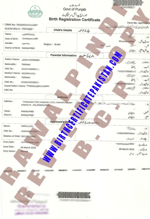 Sample Birth Certificate  Birth Certificate Pakistan