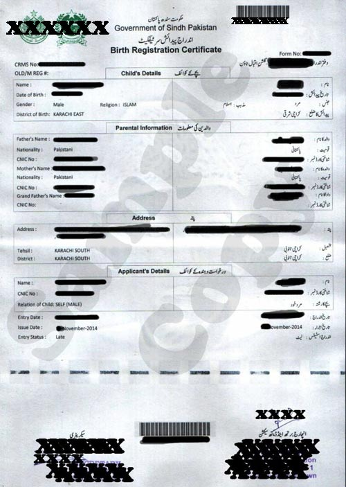 Nadra Birth Certificate Pakistan Sample, Sample Birth Certificate