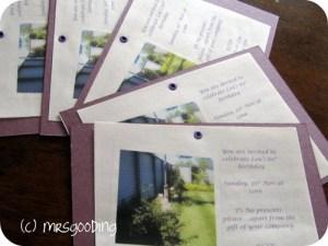 DIY birthday invitations
