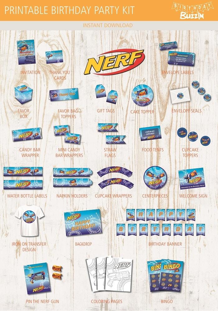 nerf birthday party printable kit