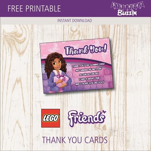 free printable lego friends thank you