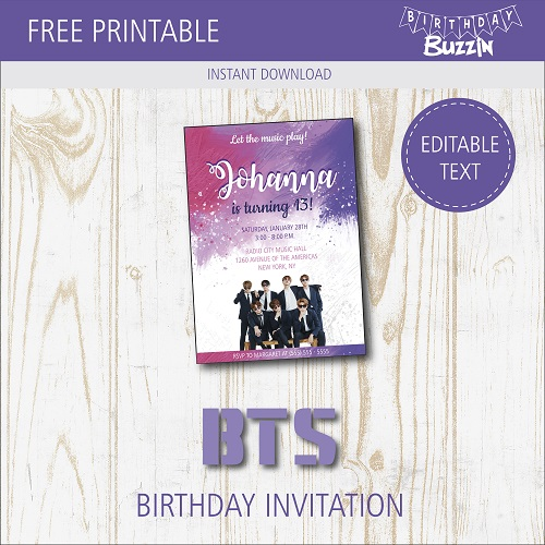 free printable bts birthday party