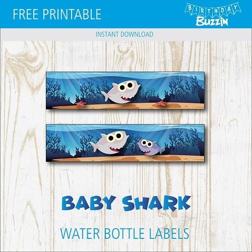 Free Printable Baby Shark Water Bottle Labels Birthday Buzzin