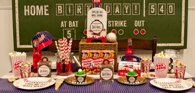 Baseball Party Theme Favors And Table Decorations With Invitations