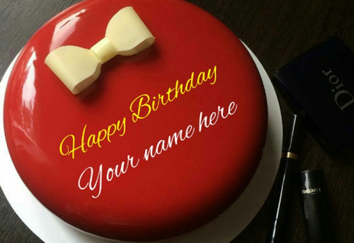 Generate Name On Birthday Cake With Bow For Husband