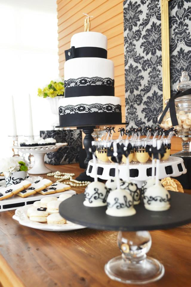 Black Damask 70th Birthday Party Dessert Table Cake