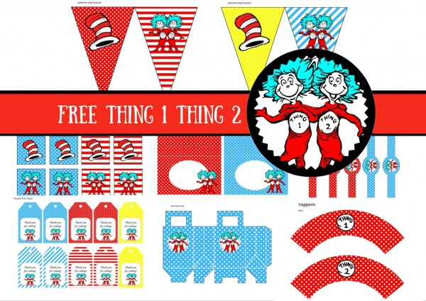 picture regarding Printable Thing 1 Logo named Dr. Seuss Cat within the Hat Detail One particular Factor 2 - Birthday