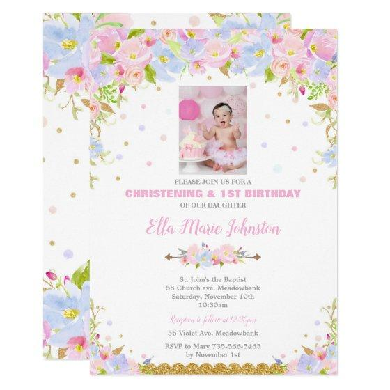 floral baptism and 1st birthday party