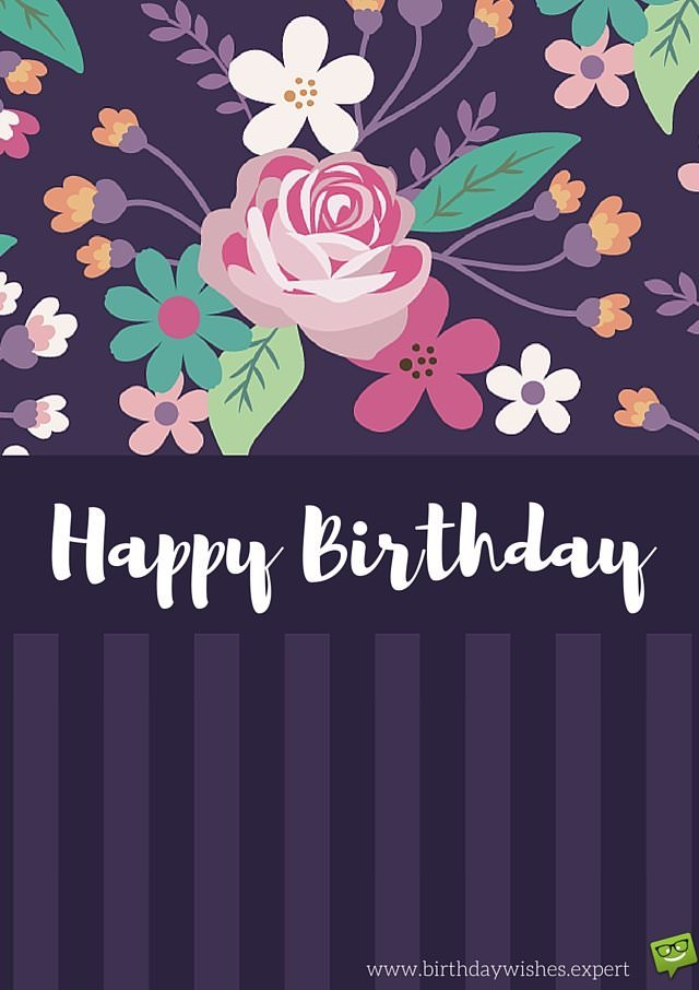 Happy Birthday Card With Floral Pattern On Purple Background