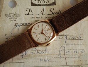 1959 or 1965 DA Scott 9ct gold watch
