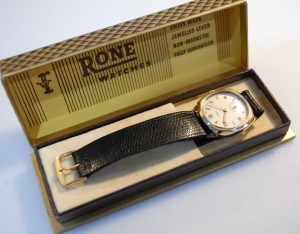 1956 Rone men's gold watch with box and papers