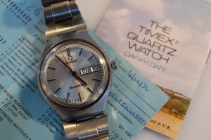 1976 Timex Q with box, papers and spare links