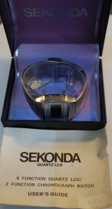 c1979 Sekonda LCD Chronograph NOS with box and papers