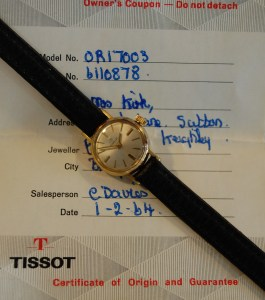 1963 1964 ladies Tissot 18ct gold watch with box and papers