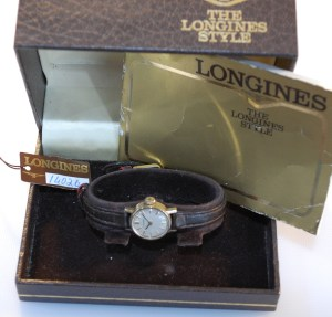 1980 or 1981 Longines ladies gold watch with box and papers