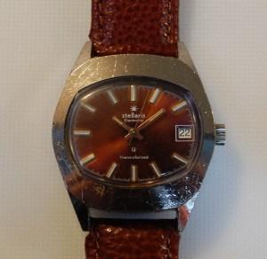 c1975 Stellaris Transistorized watch - Brown dial