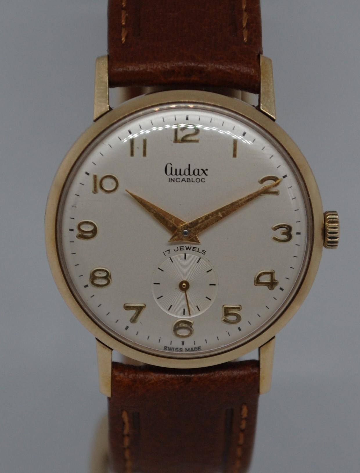 7c718cb742d 1962 Audax men s 9k gold presentation watch