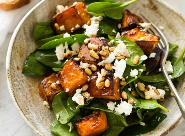 fried pumpkin and spinach salad