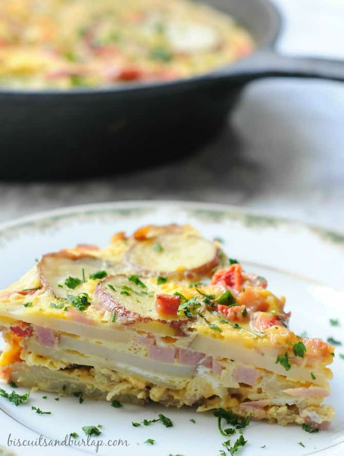 ham potato red peppers frittata