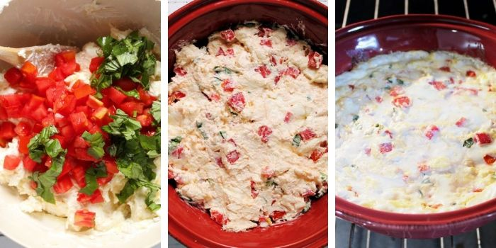 Hot Caprese dip steps collage 2