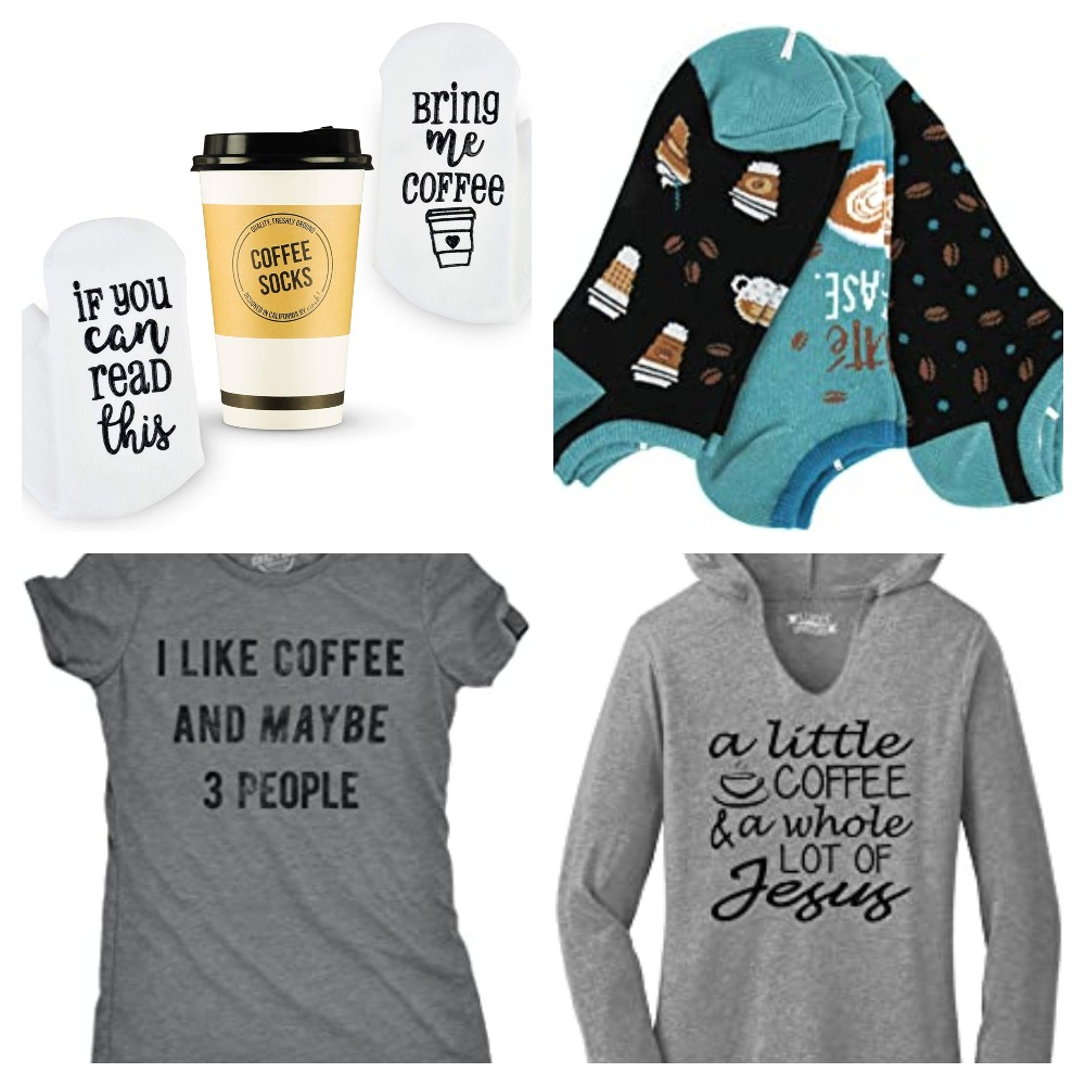 Collage of coffee apparel for Coffee Lovers Gift Guide