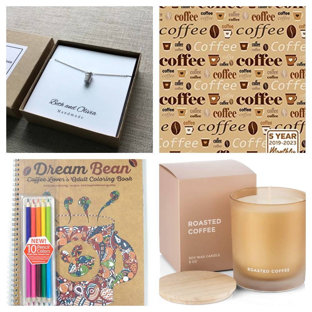 Collage of coffee random gifts for Coffee Lovers Gift Guide