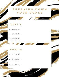 Breaking down your goals worksheet