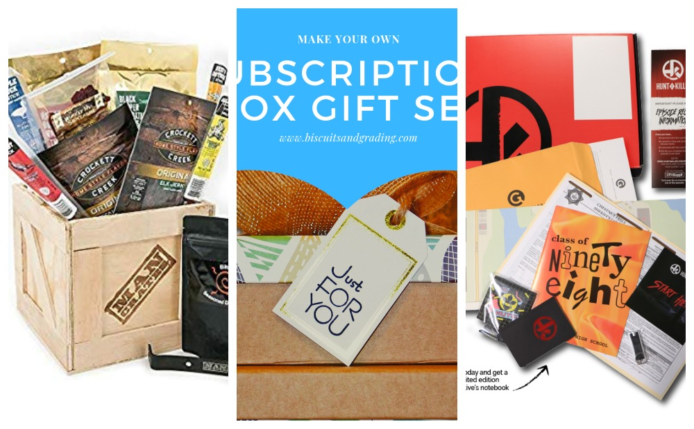Collage of gifts men actually want subscription boxes
