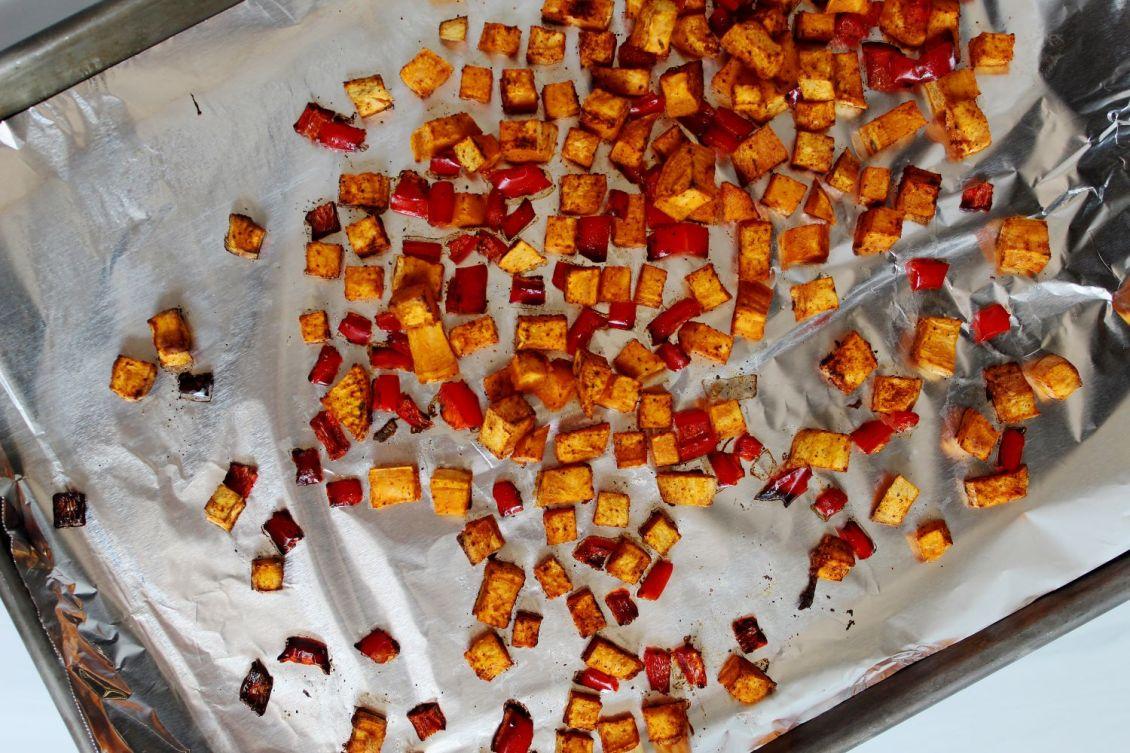 roasted sweet potatoes on pan 3