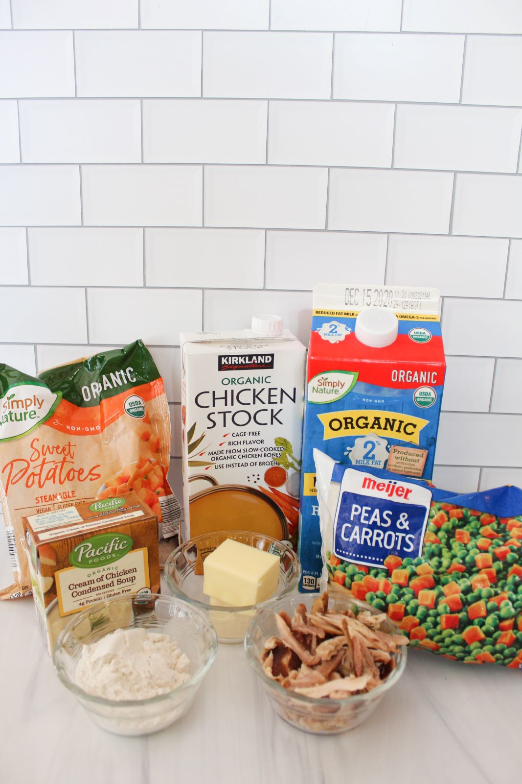 ingredients for chicken and biscuits pot pie one pot meal 1