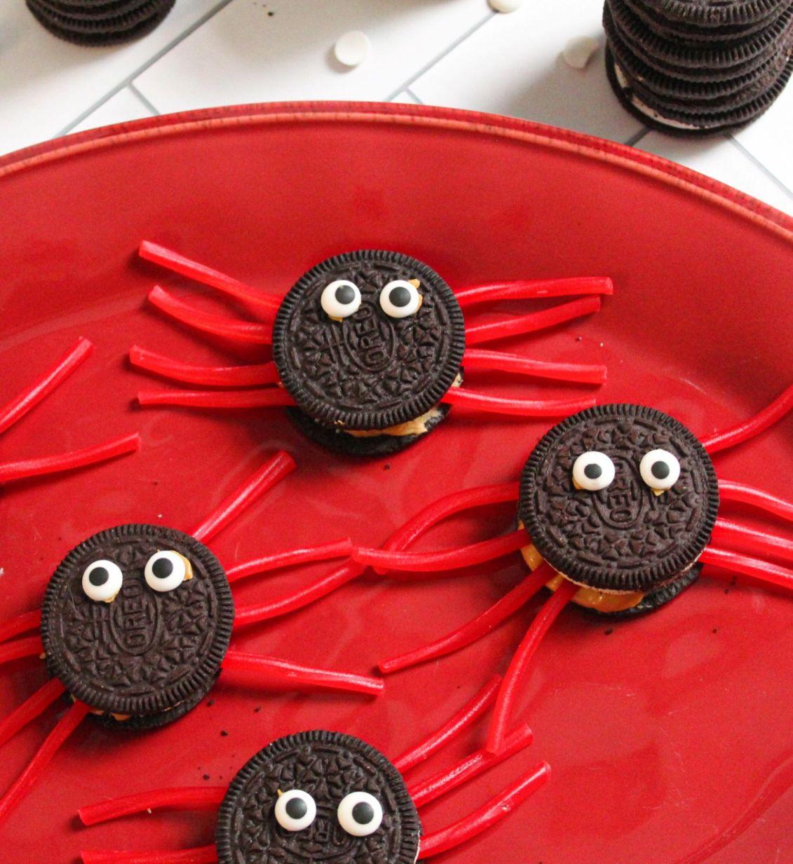 Candy eyeballs on Halloween spiders 1