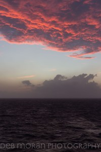 I happened to be in the room, getting ready for dinner, when I noticed the clouds outside our cabin. It was getting ready to storm, and we had some rough seas ahead.