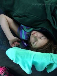 The Girl was wiped out from our gallavanting, and fell asleep on the bus back from the swamp.