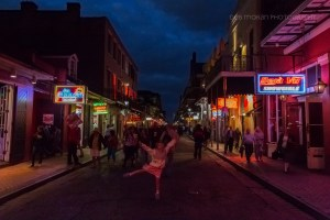 "It was our last night in NOLA, and we took the ""scenic"" route back to our hotel. With the New Orleans Jazz playing all around us, The Girl couldn't help but dancer in the middle of Burbon Street. I couldn't capture her as well as I'd hoped, but I love this photo nonetheless."