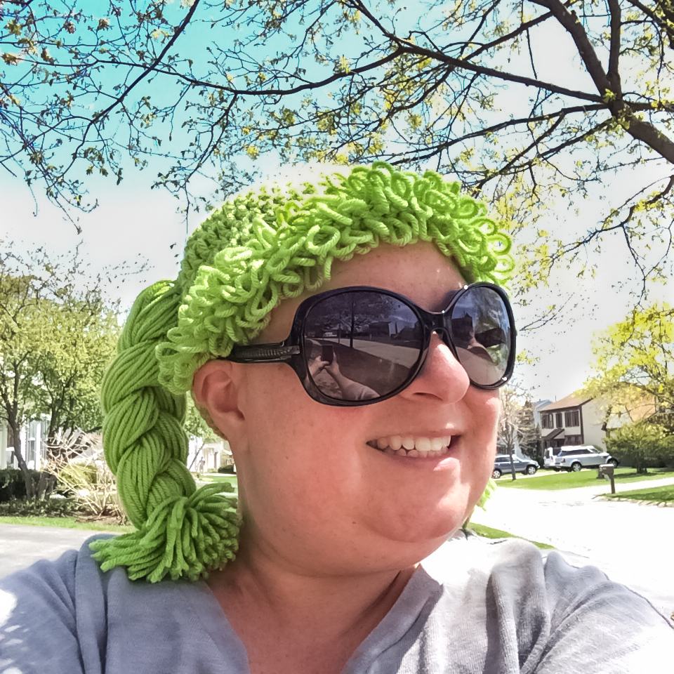 My friend, Shelley, sent this awesome Cabbage Patch Kid hat to me (along with another in blue). I wore it to the bus stop to get the girl after school today. She thought it was awesome (her word) - so much so that she's appropriated the blue one for herself. #cy365 #OffPrompt