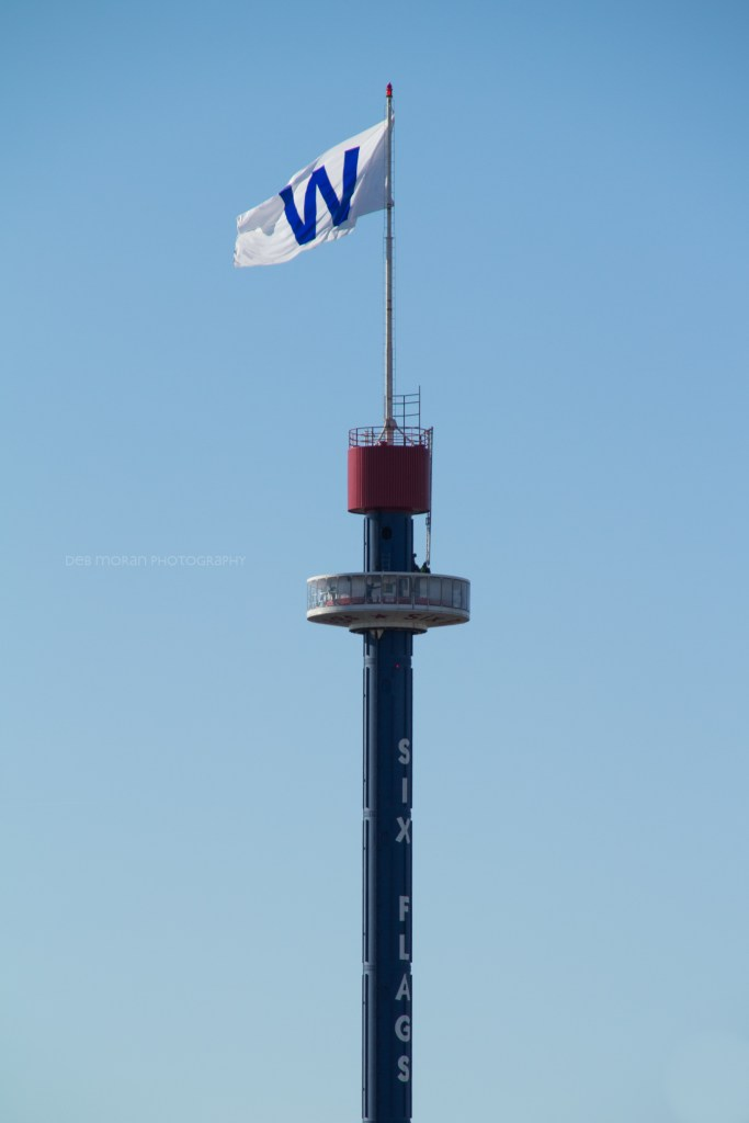 The 38x40 foot W Flag flying 330 feet high above Six Flags Great America, the morning after the Cubs have won the World Series. The flag was raised after our first win of the series - game 2. Click the pic to read more.
