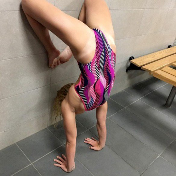 Swimsuit Headstand