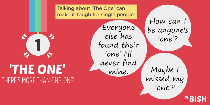 When we talk about 'the one' it makes it really hard for single peoplel
