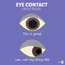Eye contact can tell you a lot. An eye looking ahead and an eye looking to one side.