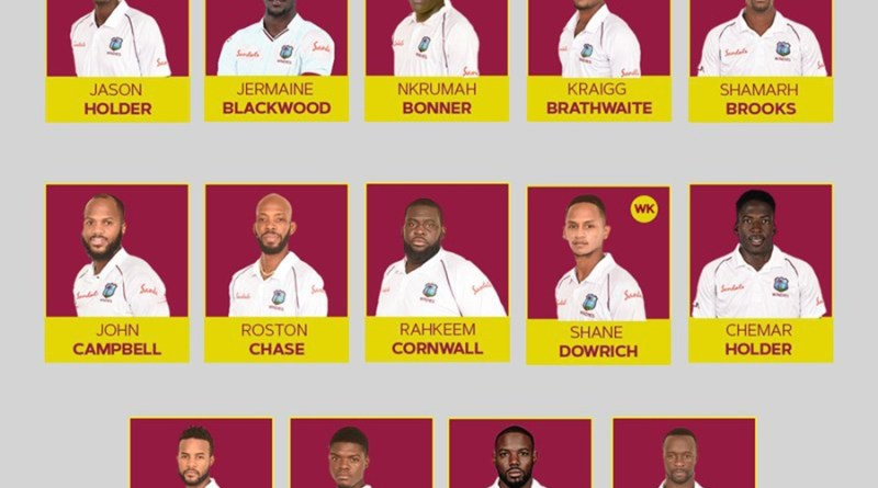 इंग्ल्याण्डविरुद्ध टेष्ट खेल्ने वेष्टइन्डिज क्रिकेट टोली घोषणा
