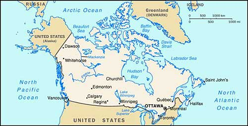 Canada is a country that is north of the United States.