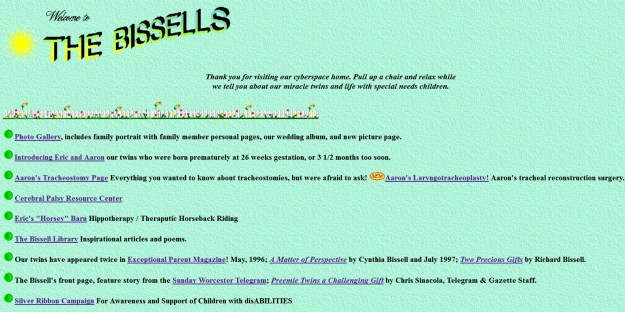 Bissell Home Page in 1995 - See live demo here