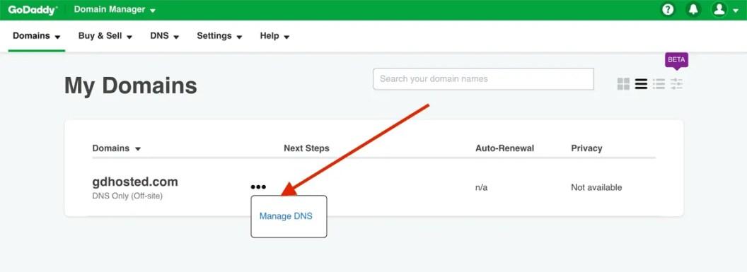 GoDaddy India hosting user interface